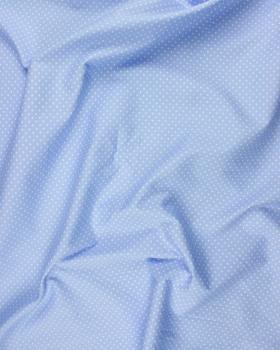 Popeline de Coton Petits Pois Blancs sur fond Bleu Ciel - Tissushop