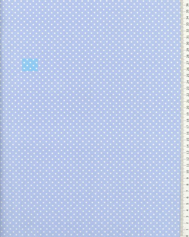 Cotton Popelin White Dot on a background Light Blue - Tissushop