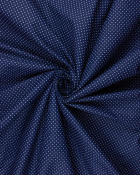 Popeline de Coton Petits Pois Blancs sur fond Bleu Marine - Tissushop