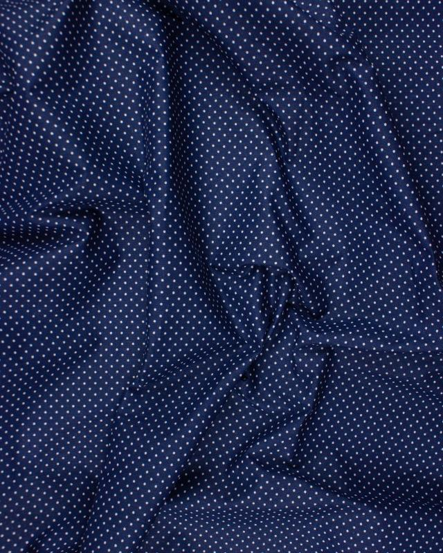 Cotton Popelin White Dot on a background Navy Blue - Tissushop