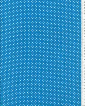 Cotton Popelin White Dot on a background Turquoise Blue - Tissushop