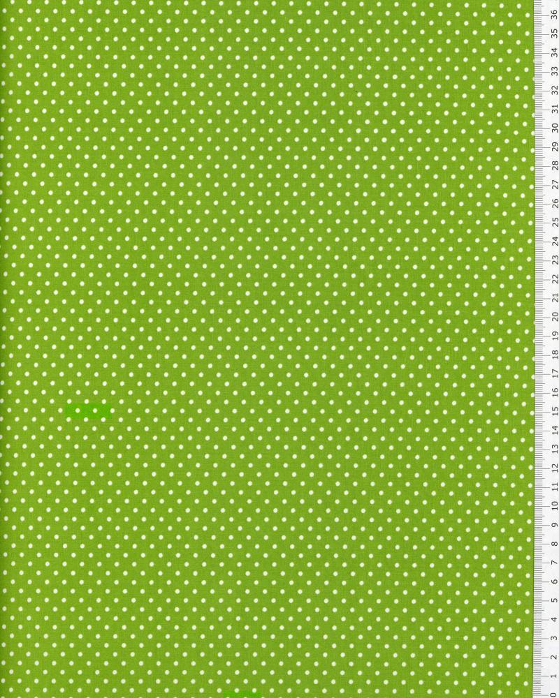 Popeline de Coton Petits Pois Blancs sur fond Vert Spring - Tissushop