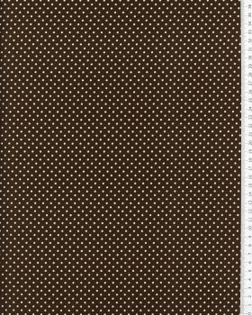 Cotton Popelin White Dot on a background Brown - Tissushop