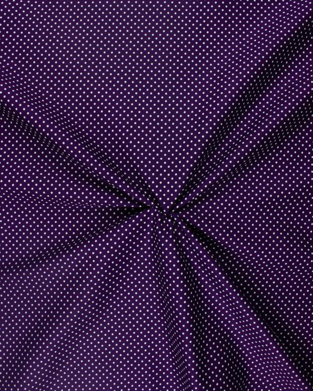 Popeline de Coton Petits Pois Blancs sur fond Violet - Tissushop