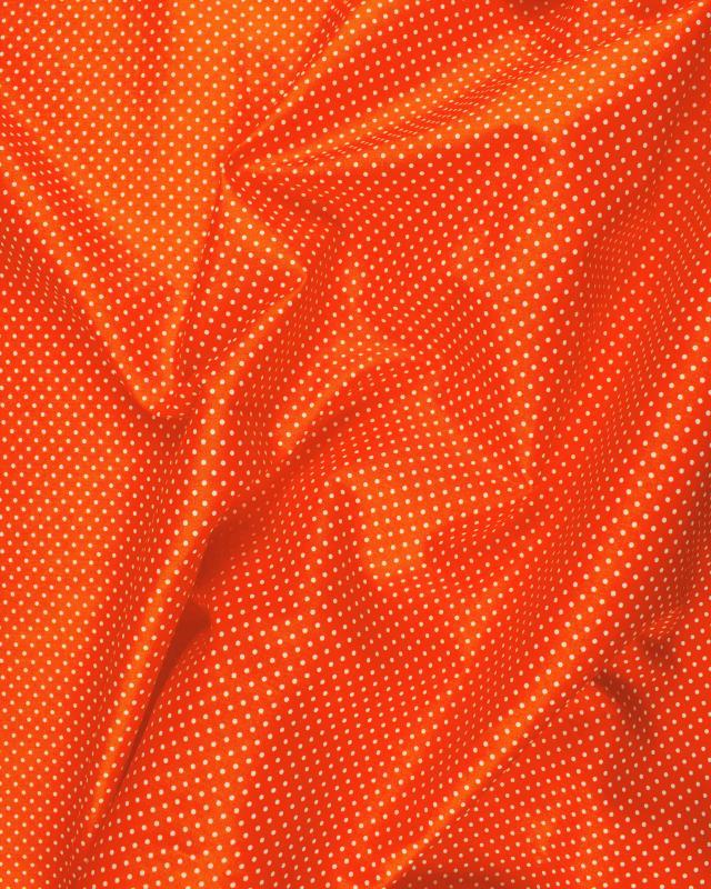 Popeline de Coton Petits Pois Blancs sur fond Orange - Tissushop