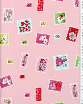 Cotton Popelin Stamped Pink - Tissushop