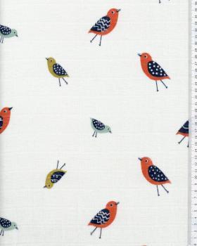 Muslin print bird Off White - Tissushop