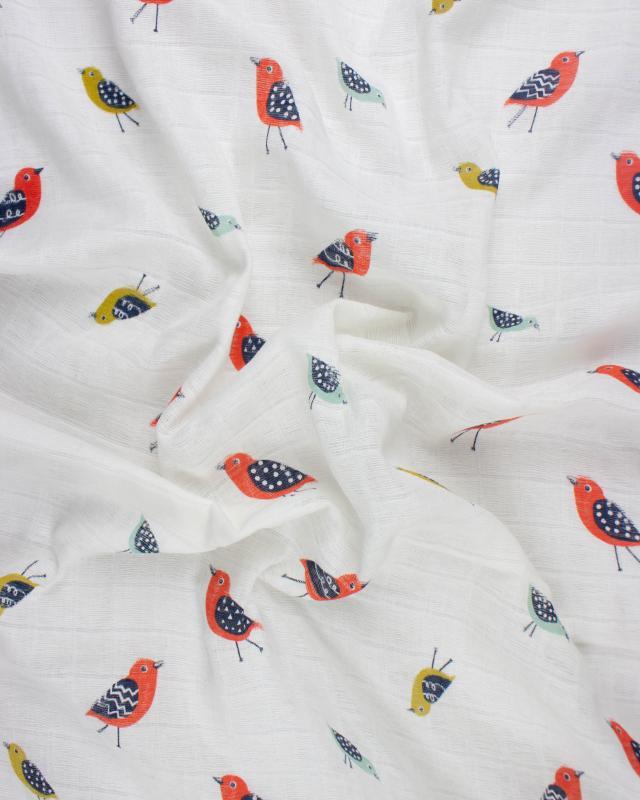 Double gaze imprimé oiseau Blanc Cassé - Tissushop