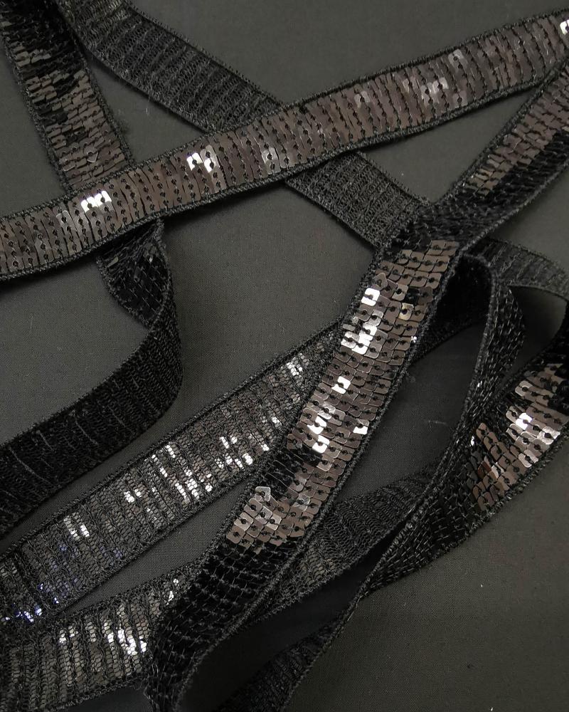 SQUARE GLITTER BRAID Black - Tissushop