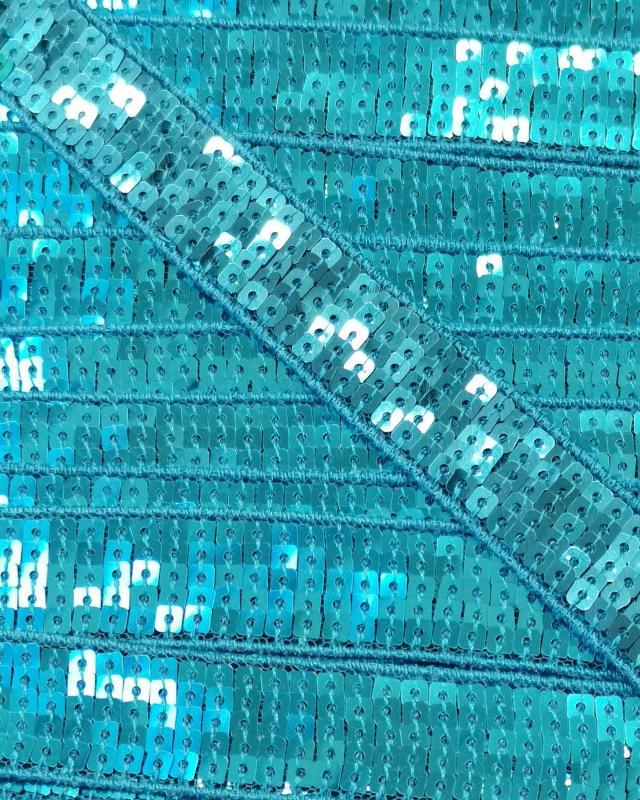 Galon à paillettes carrées Bleu Turquoise - Tissushop
