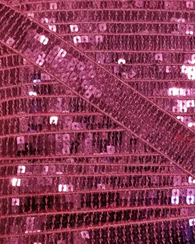 Galon à paillettes carrées Rose - Tissushop