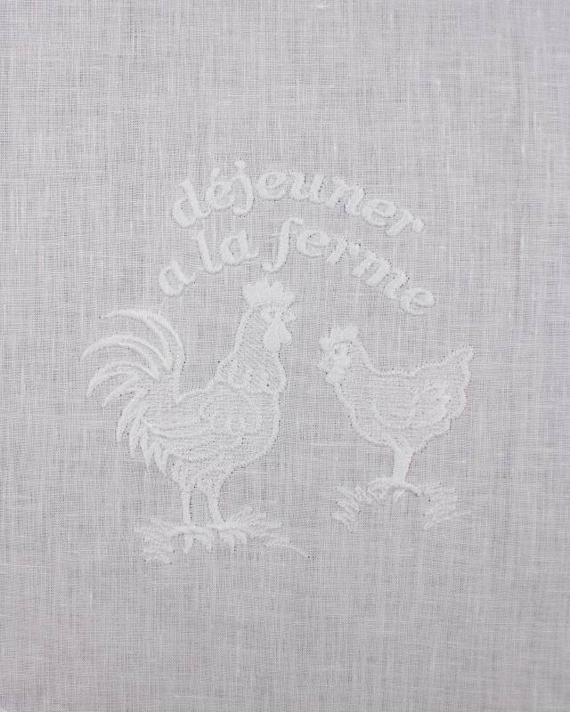 White Linen Curtain Farm Pattern - Tissushop