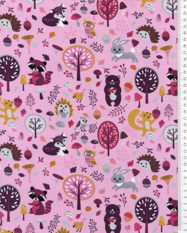 Jersey Animals of the Forest Pink - Tissushop