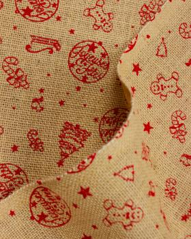 Jute clothes printed chrismas Red - Tissushop