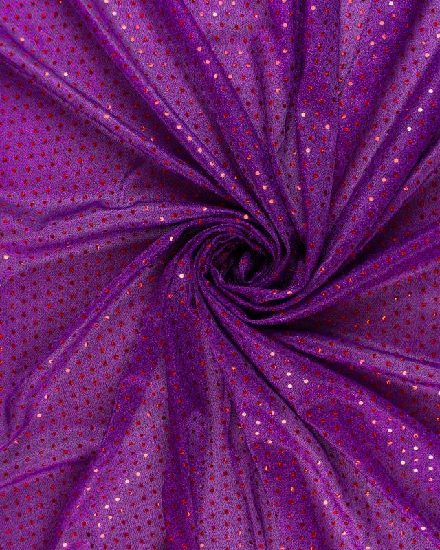 Tissu à Paillettes Rondes Rouge / Violet - Tissushop