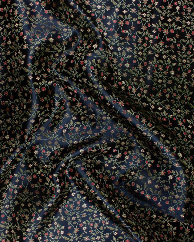 Flowered Jacquard Satin Black - Tissushop