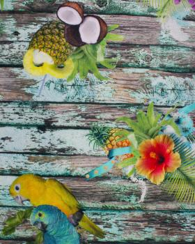 Digital Printed Cotton Parrot and Pineapple - Tissushop