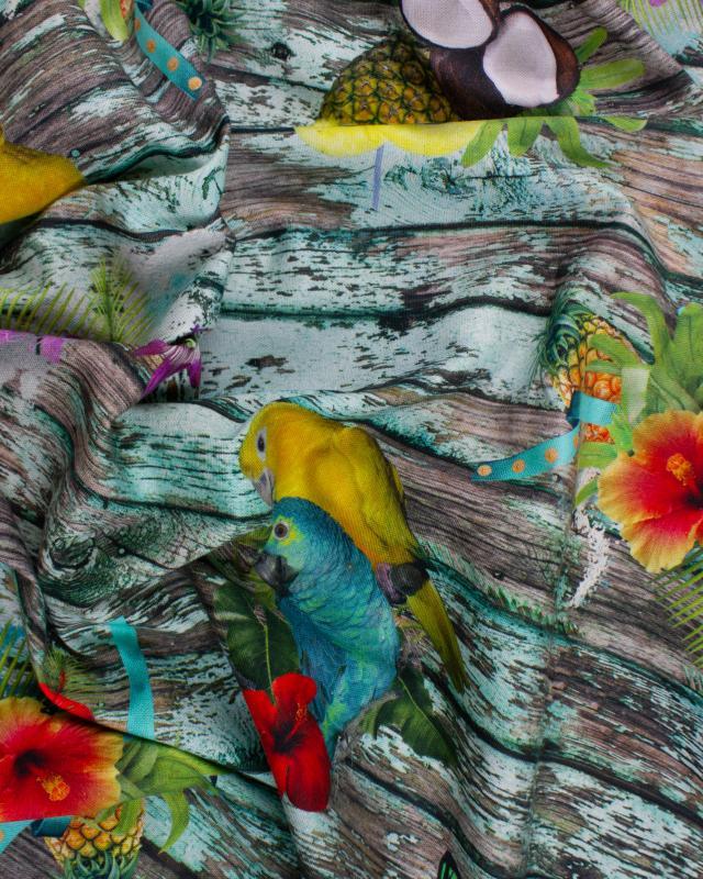 Coton Impression Digitale Perroquet et Ananas - Tissushop