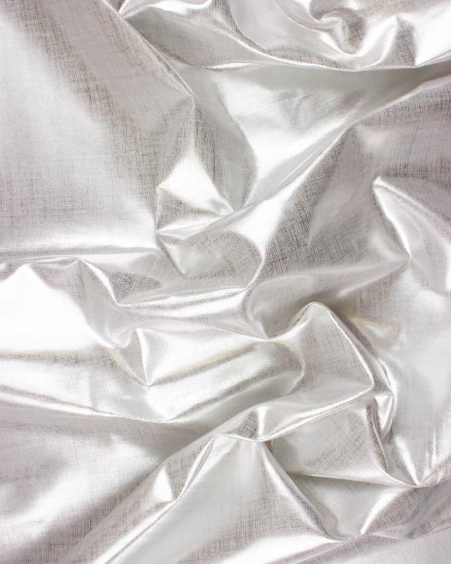 Toile de lin blanc métallisé Argent - Tissushop