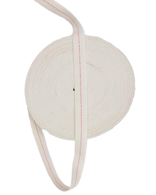 Cotton Webbing Herringbone Red Stripe White - Tissushop