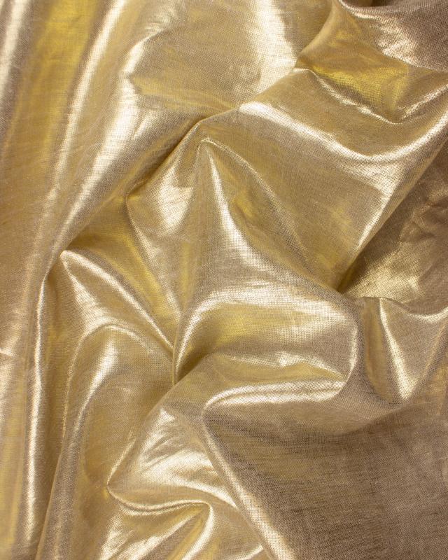 Toile de lin naturelle légère assouplie Métallisée Doré - Tissushop