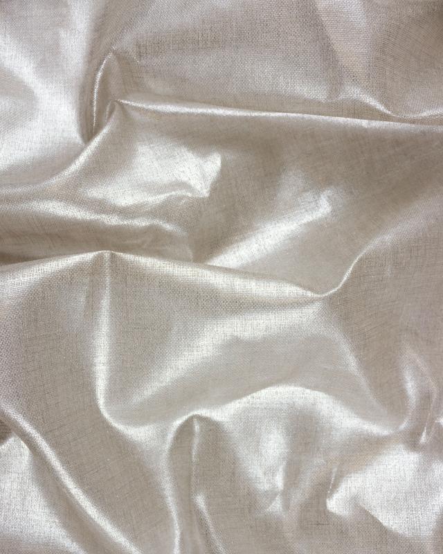 Toile de lin naturelle légère assouplie Métallisée Argenté - Tissushop