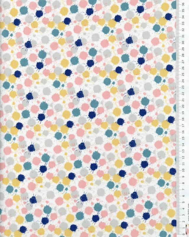 Popeline de Coton - Sam Gris / Bleu - Tissushop