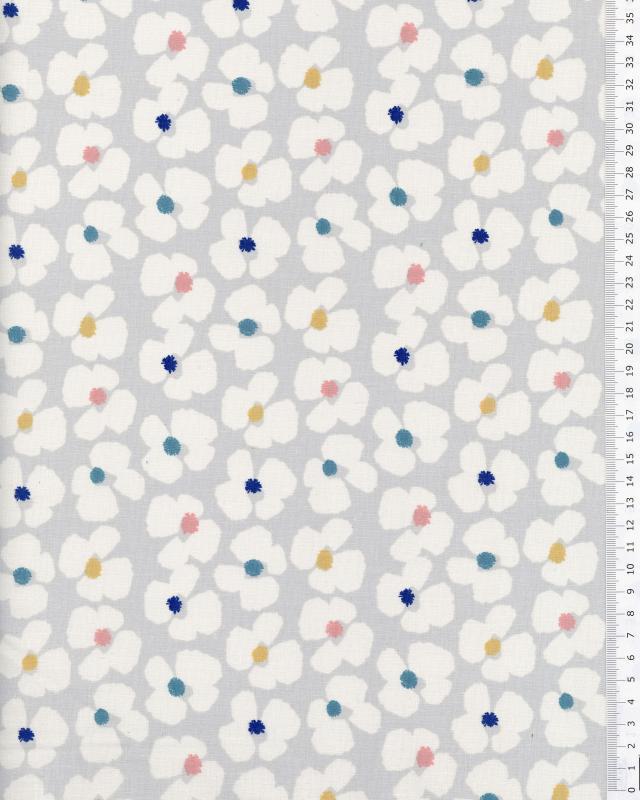 Popeline de Coton - Sally Gris / Bleu - Tissushop