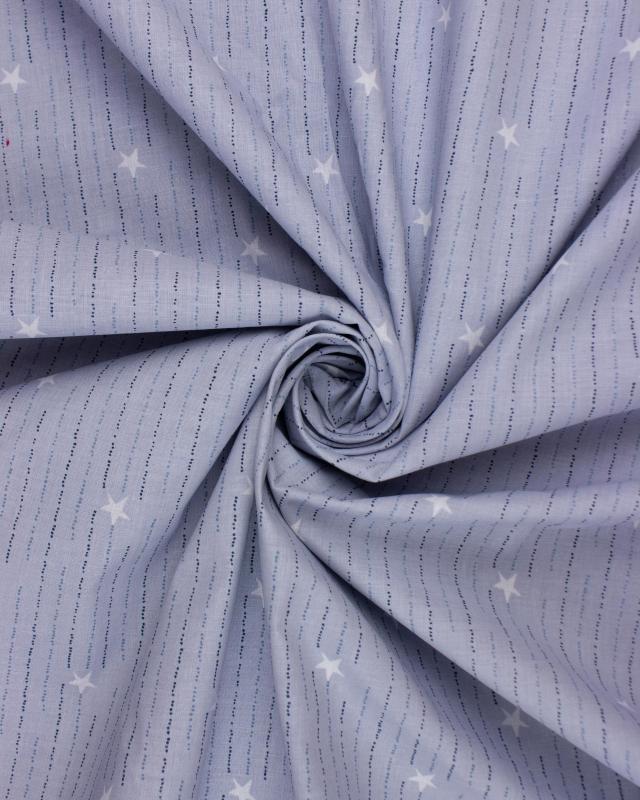Popeline de Coton - Cara Bleu Jeans - Tissushop