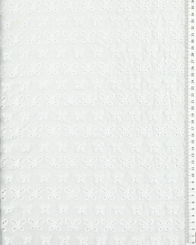 Coton broderie anglaise papillon Blanc - Tissushop