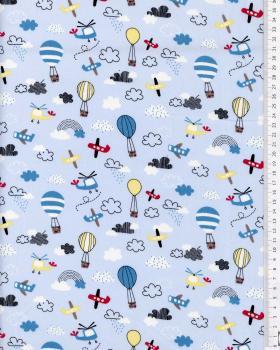 Balloon Printed cotton Popelin Light Blue - Tissushop
