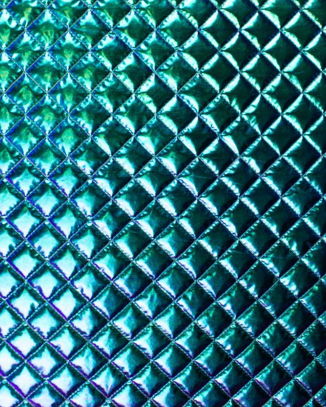 Metallic quilted fabric Almond Green - Tissushop