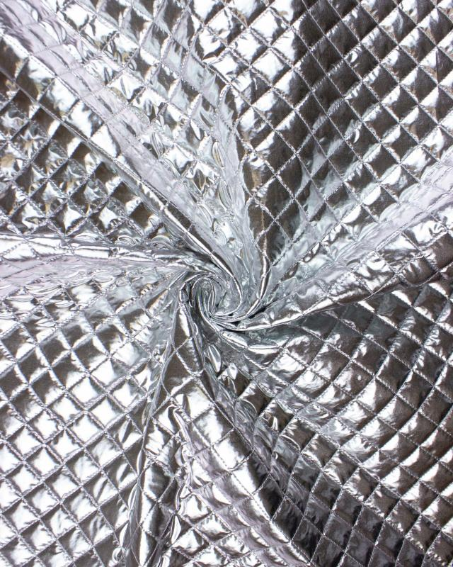 Metallic quilted fabric Silver - Tissushop