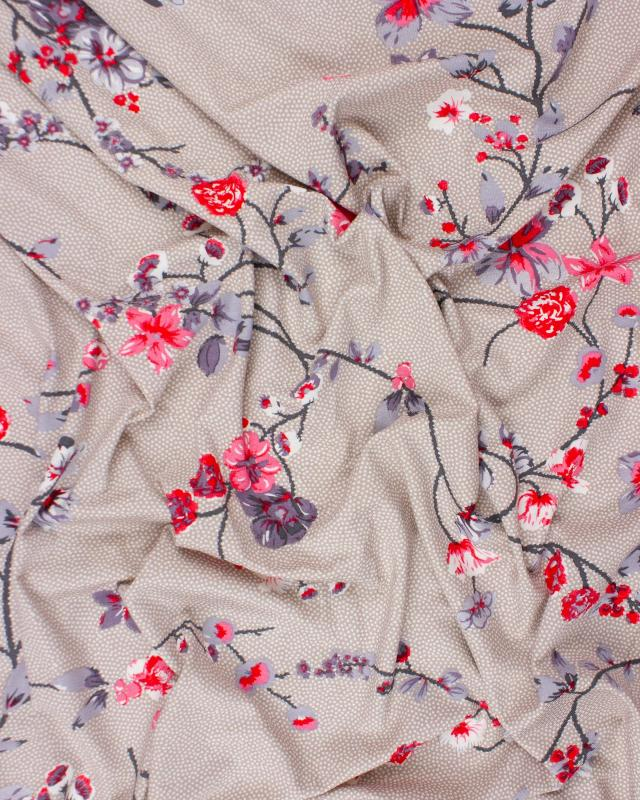 Flower and dot Jersey Fabric Beige - Tissushop