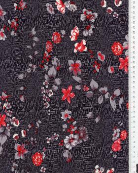 Flower and dot Jersey Fabric Navy Blue - Tissushop