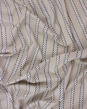 Dot and Stripe crepe Beige - Tissushop