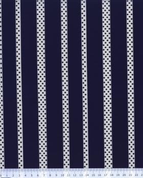 Crêpe Pois et Rayure Bleu Marine - Tissushop