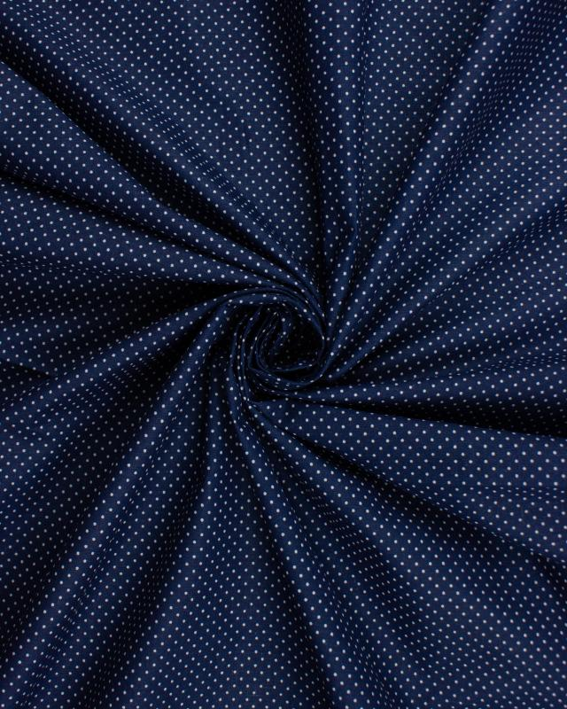 Cotton Popelin mini dot on a background Navy Blue - Tissushop