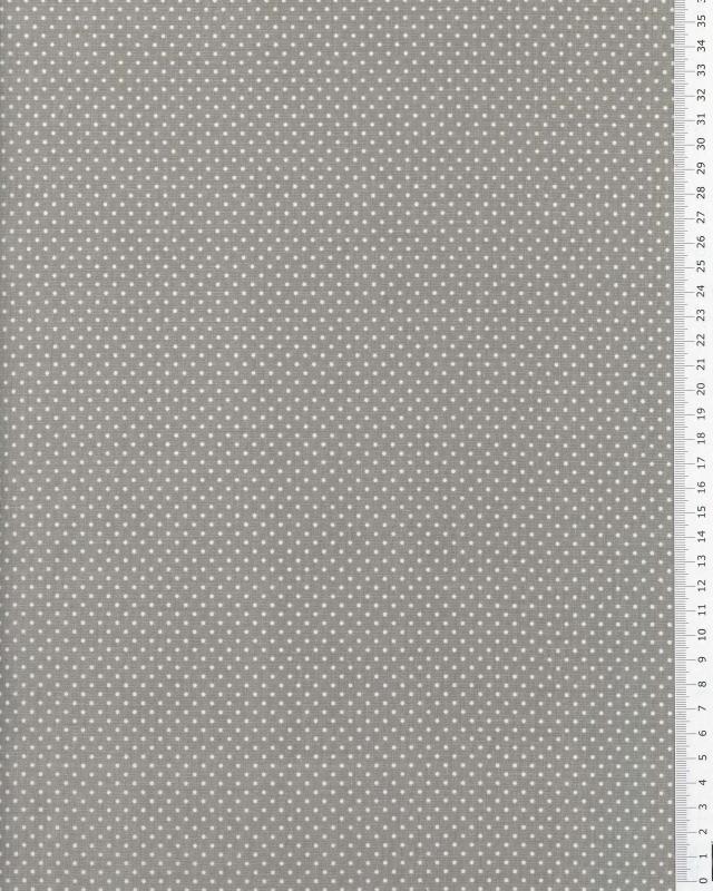 Popeline de Coton Mini Pois Blancs sur fond Gris Clair - Tissushop
