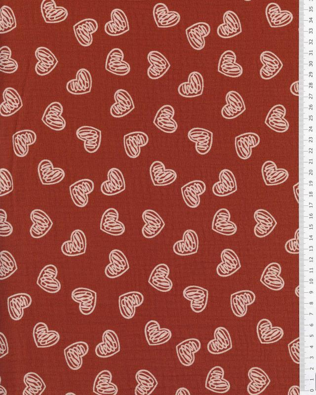 Muslin printed heart Rust - Tissushop