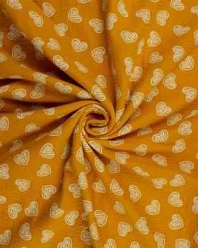 Muslin printed heart Mustard - Tissushop