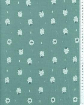 Muslin printed Sheep Eucalyptus Green - Tissushop