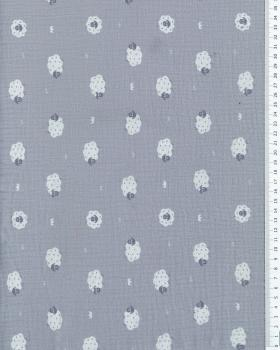 Muslin printed Sheep Light Grey - Tissushop